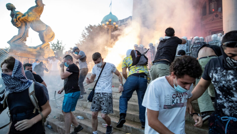 Protesters in Serbia clash with police over coronavirus restrictions