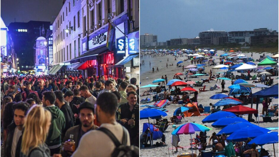 fears of the coronavirus second wave did not prevent revelers in the US and UK hitting the beaches and the bars