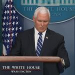 Pence, coronavirus task force members leave briefing without taking questions